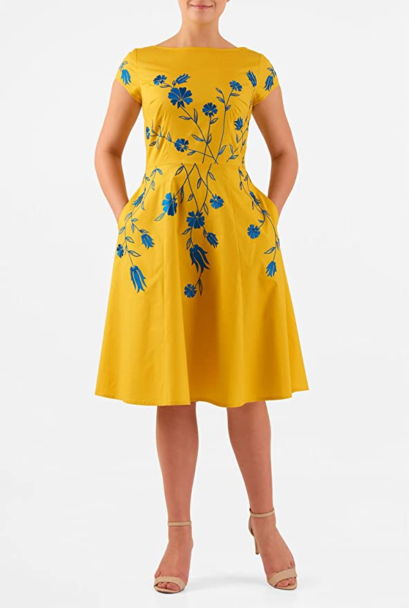 Plus Size Retro Dresses eShakti Womens Floral vine embellished stretch poplin dress $54.95 AT vintagedancer.com