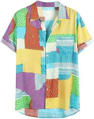 Camisa Hawaiana de Verano para Hombre con Botones de Color y Mangas Cortas Transpirables, Playera Casual para Vacaciones, Hawai, Talla Grande M-3XL Amarillo Amarillo 34-37: Amazon.es: Ropa y accesorios