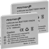 Fosmon (2 PACKS) Canon NB-4L Replacement Battery Pack Compatible with Canon Digital 50/40, Digital IXUS 30/ 40/ 50/ 55/ 60/ 65, Digital IXUS WIRELESS/ IXUS i zoom/ IXUS i7 zoom/ IXY Digital Wireless/ IXY Digital 40/ 50/ 55 / 60/ IXY Digital L3 Series/ IXY Digital L4/ IXY Digital Series/ PowerShot SD30/ SD40/ SD400/ SD430 WIRELESS/ SD450/ SD600/ SD630/ Powershot SD Series/ Powershot SD200/ SD300