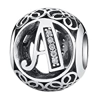 PAHALA 925 Sterling Silver 26 Letters With Crystals Charms Beads