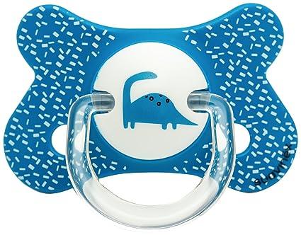 Suavinex 302509 - Chupete fisiológico látex, 4-18 meses, dinosaurios, color azul