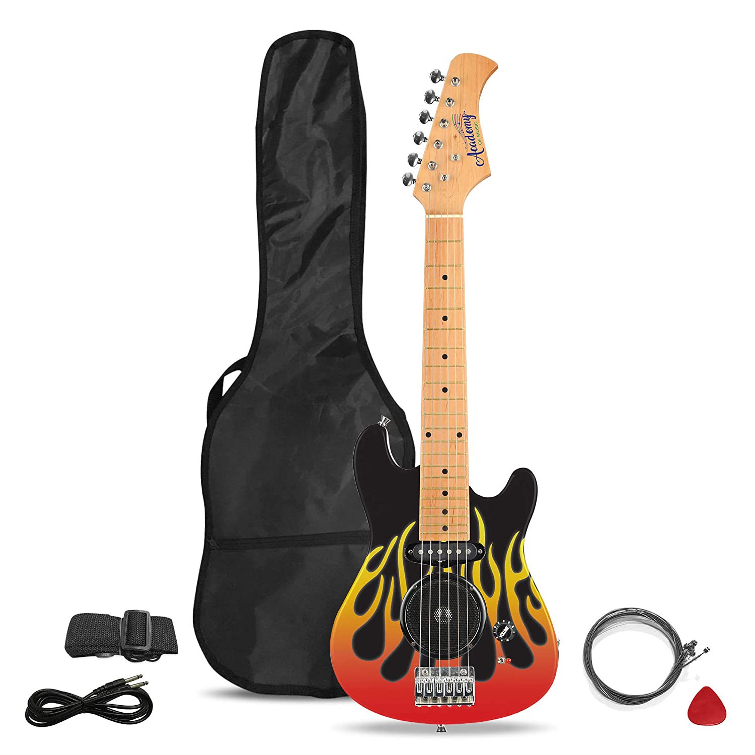 Academy of Music TY6016B Kids Electric Guitar for Beginners with Built-in Amp and 6 Steel Strings, Flames Toyrific