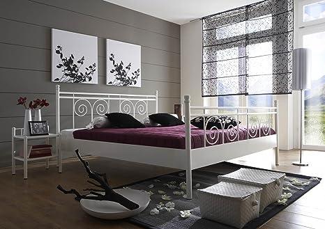 SAM® Metallbett 140x200 cm Rosario, Bettgestell weiß, Filigrane  Verzierungen, Blickfang für Gästezimmer Schlafzimmer