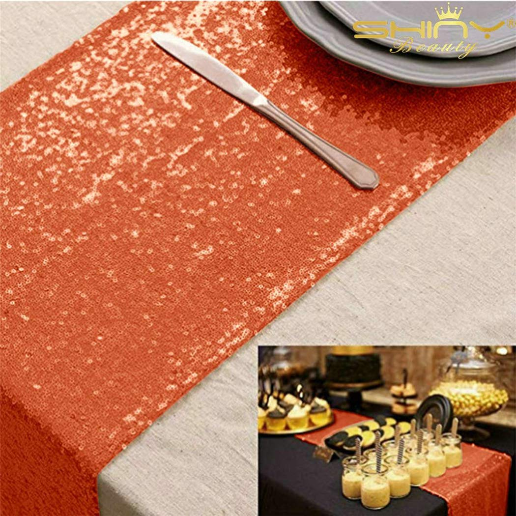 (Coral) - Shinybeauty Sequin Table Runner, 30cm by 270cm, Coral  コーラル B072N29GDT