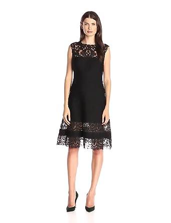 Tadashi Shoji Women's Corded Lace and Tucking Detail-a-Line Slvls Dress, Black, Large