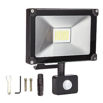 ALOTOA 20W PIR Iluminación de Seguridad, Blanco calido 3000K 2000lm, 100W Equivalente halogeno LED Faro Sensor de Movimiento, IP65 Impermeable Para ...