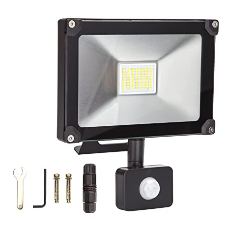 ALOTOA 20W PIR LED Foco Exterior, Blanco Fresco 6000K 2000lm, 100W Equivalente halogeno LED