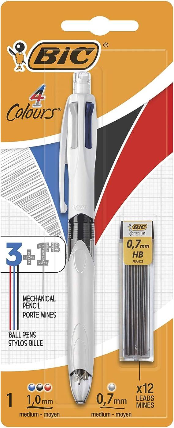 BIC 4 Colores Bolígrafo de Punta Media (1,0mm) Multifunción 3+1HB con 12 minas de Recambio 0,7mm - Colores Surtidos - Ideal para profesionales: Amazon.es: Oficina y papelería
