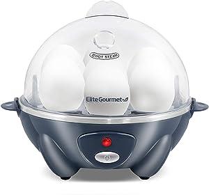 Elite Gourmet Eg EGC-007BG Easy Electric Poacher, Omelet Soft, Medium, Hard-Boiled Boiler Cooker with Auto Shut-Off and Buzzer, BPA Free, 7 Egg Capacity, Grey Blue (Renewed)