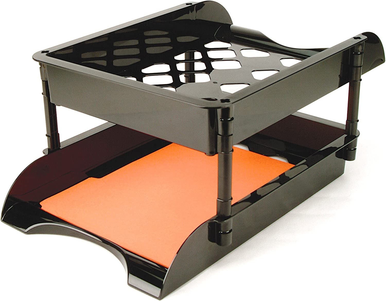 Officemate Unbreakable High Capacity Trays, Set of 2, Black (21072)