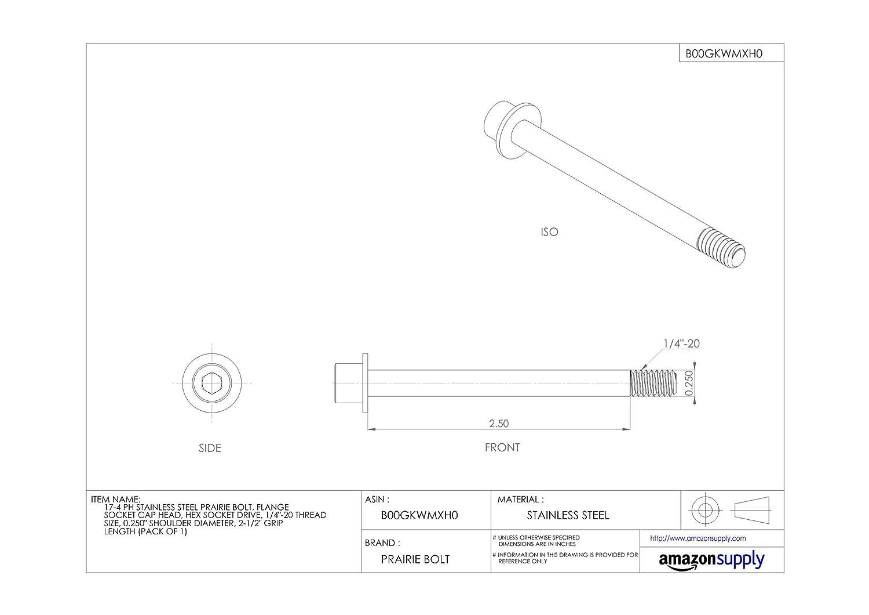 Made in US Hex Socket Drive 17-4 PH Stainless Steel Prairie Bolt Pack of 1 2-5//8 Grip Length 3//8-16 Thread Size Flange Socket Cap Head Plain Finish 0.375 Shoulder Diameter