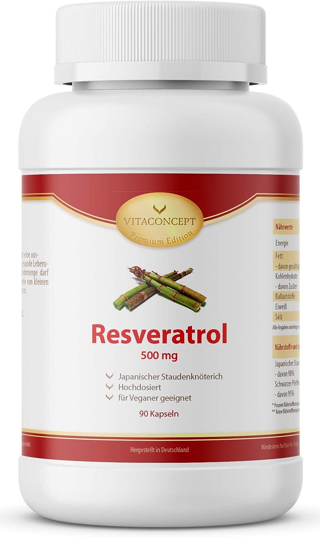 VITACONCEPT - Resveratrol con 500 mg por cápsula (90 cápsulas de 3 meses)