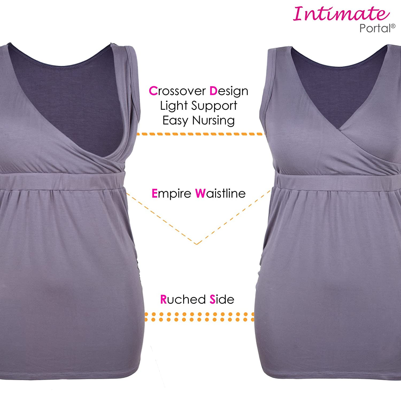 Intimate Portal Damen Komfortables Umstandskleidung Baumwoll Oberteil zum Stillen
