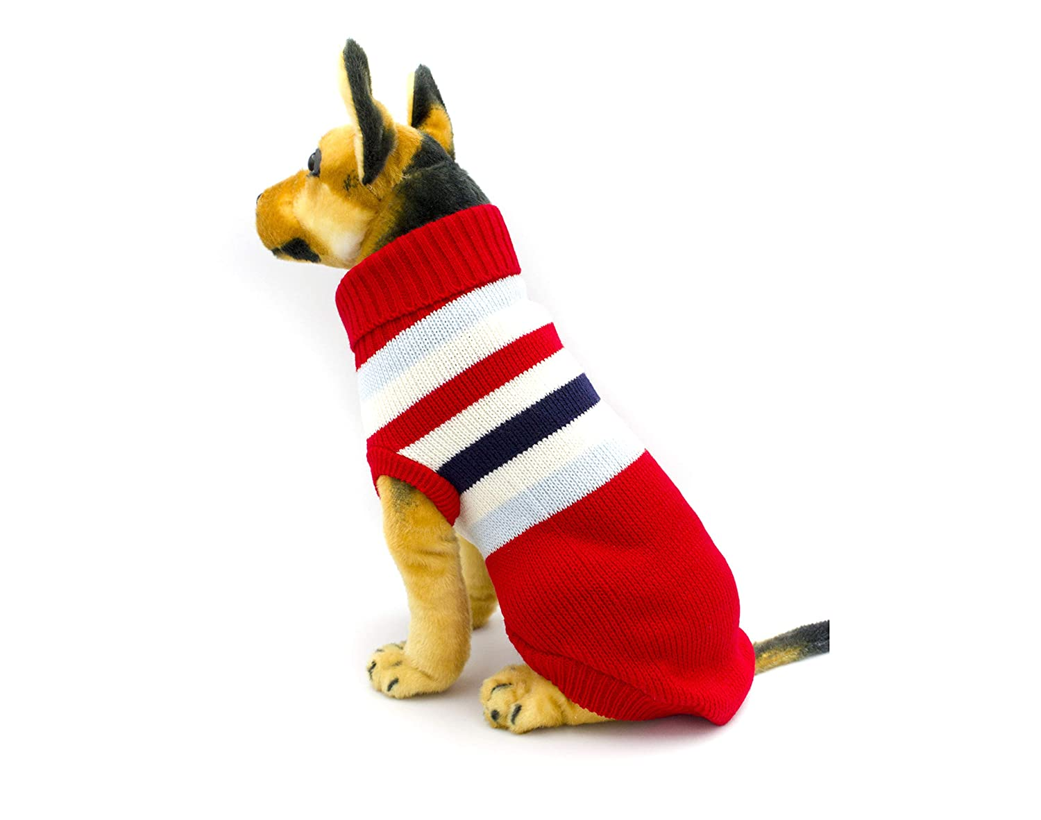 Red Small Red Small AXEL PETS Elegant Stripes Knit Turtleneck Winter Warm Sweater for Dog and Puppy (Small, Red)