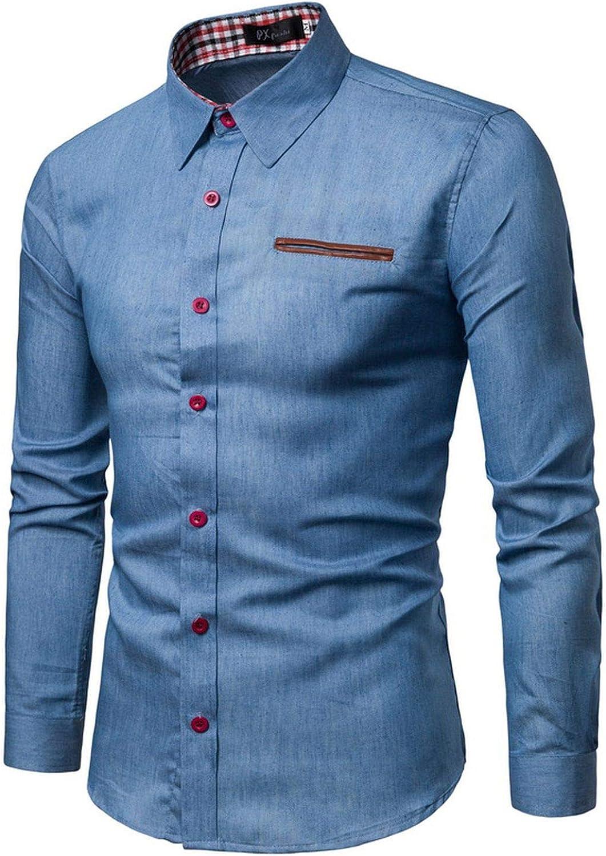 rtrtrewe Camisas para Hombre, Casual, Manga Larga, Informal, Ajustadas, para Hombre Azul Azul Celeste 3XL: Amazon.es: Ropa y accesorios
