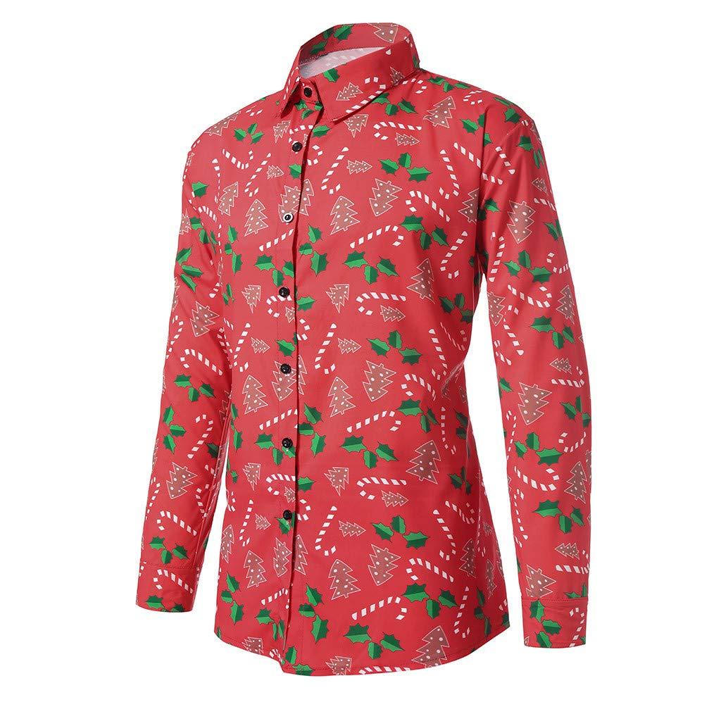 NPRADLA Men Casual Oversize Christmas Snowflakes Santa Candy Printed Standard Thickness Long Sleeve Turn-Down Collar Christmas Shirt Top Blouse