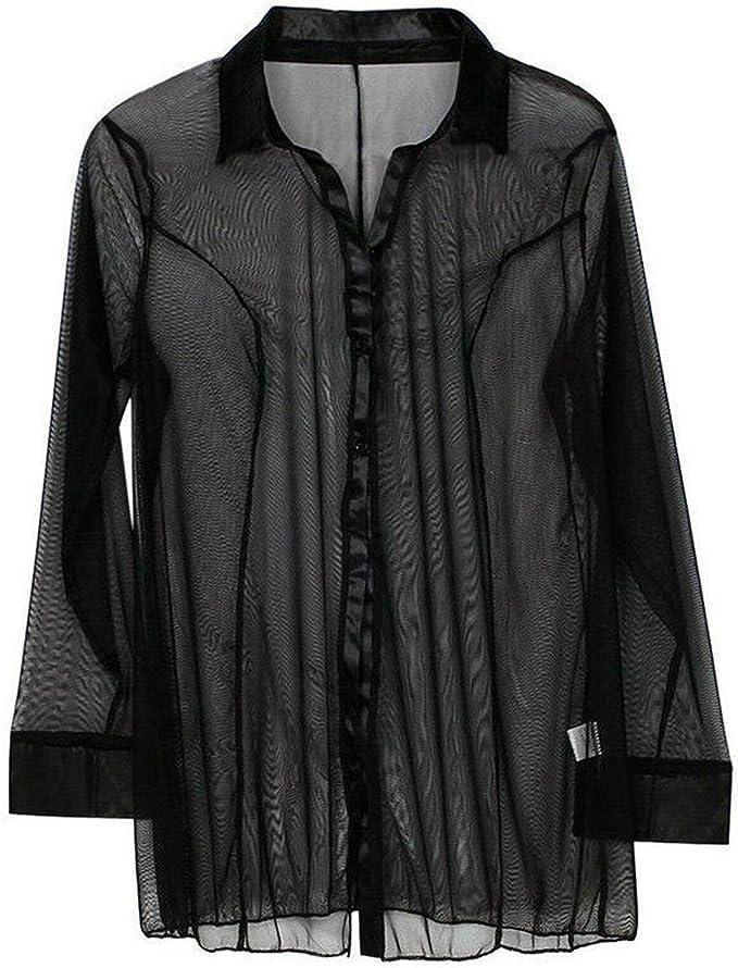 ETAOLINE Womens Sexy Sheer Sleepshirt Pajamas Long Sleeve