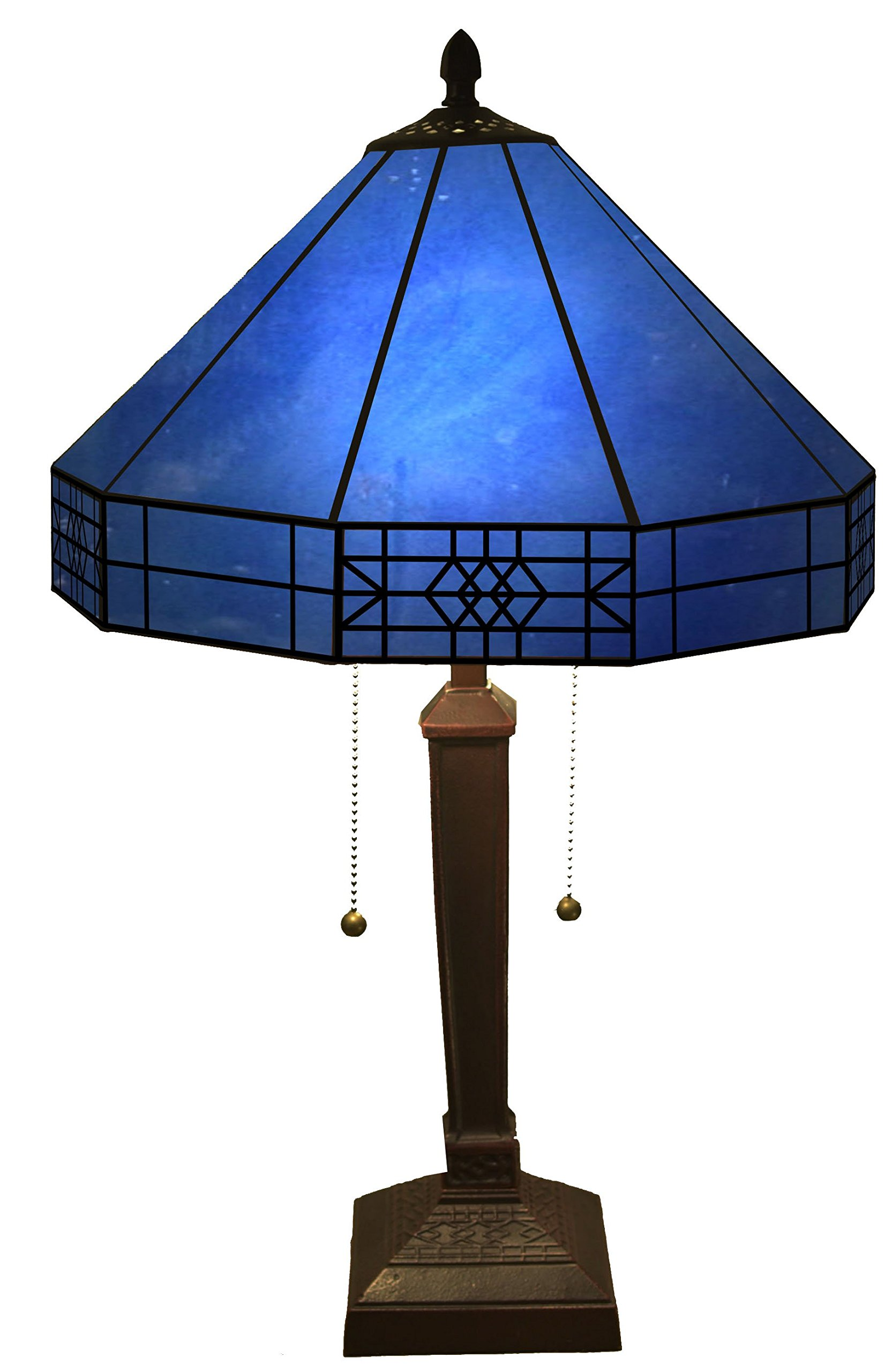 Whse of Tiffany T14M113 BLUE Maeve Tiffany-Style 2-Light Table Lamp
