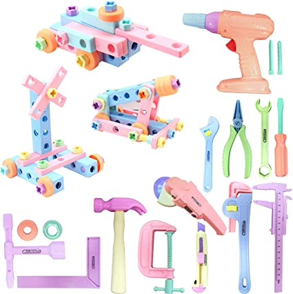 Amazon.com: Gifts2U Kids Toy Tool Set 84pcs Realistic Kids Construction Toy  Include Drill, Sander Toy, Handsaw and Screw Toy Spliced into Tank  Construction Cars STEM Tool Set for Kids Boys Girls (Pink):