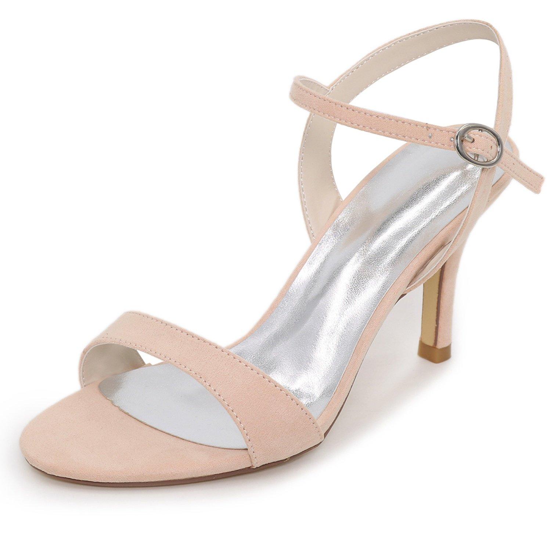 Elobaby Zapatos De Boda De Las Mujeres del OtoñO Sandalias De TacóN Medio SatéN Hebilla Noche Nueva Dama De Honor/8.5cm TalóN 39 EU|Apricot