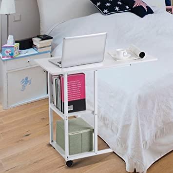 Amazon.com : White Hospital Bed Table Portable Laptop Computer Desk Cart Mobile Notebook Sofa Couch Snack Breakfast Table with Storage Shelves : Office ...