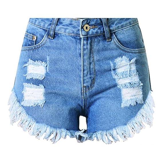 Femme Shorts en Jean - Sexy Taille Haute Pantalons Denim avec Poche Mode  Ripped Couleur Unie Casual Été Mini Pantalons Courtes Plus Taille   Amazon.fr  ... 7dddee8c4c2