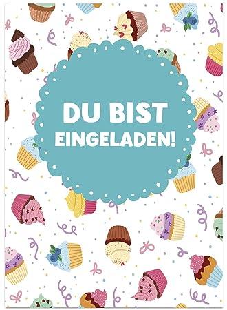 16 Einladungskarten Zum Kindergeburtstag   Cupcakes Und Muffins   Für  Kinder, Jungen, Mädchen,
