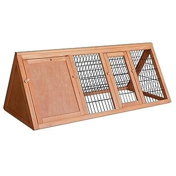 Conejera caseta jaula conejos animales pequeños recinto descubierto corredor madera abeto: Amazon.es: Jardín