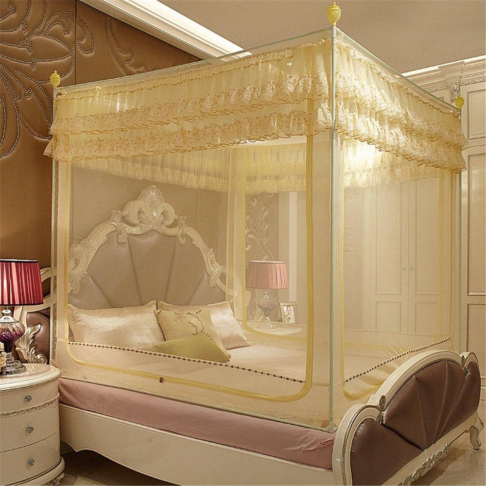Maybesky Moskitonetz Side Top Bed Dreitürernetzen 1,2 1,5 1,8 2,0 Erhöhen Höhe Palace Zipper Netze geeignet für Schlafzimmer Reise Wesentliches Moskitonetze