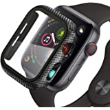 ZXK CO Compatible Apple Watch 44mm Case with Screen Protector, Hard PC Case Bumper Slim HD Clear Tempered Glass Cover…