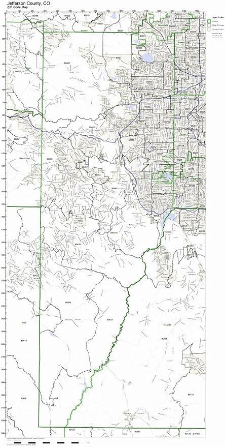 Jefferson County Colorado Map Amazon.com: Jefferson County, Colorado CO ZIP Code Map Not