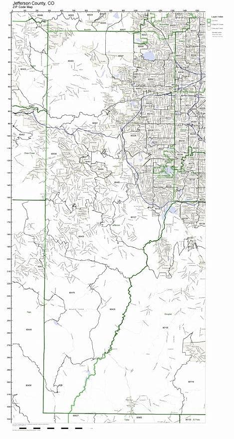 Amazon.com: Jefferson County, Colorado CO ZIP Code Map Not Laminated on