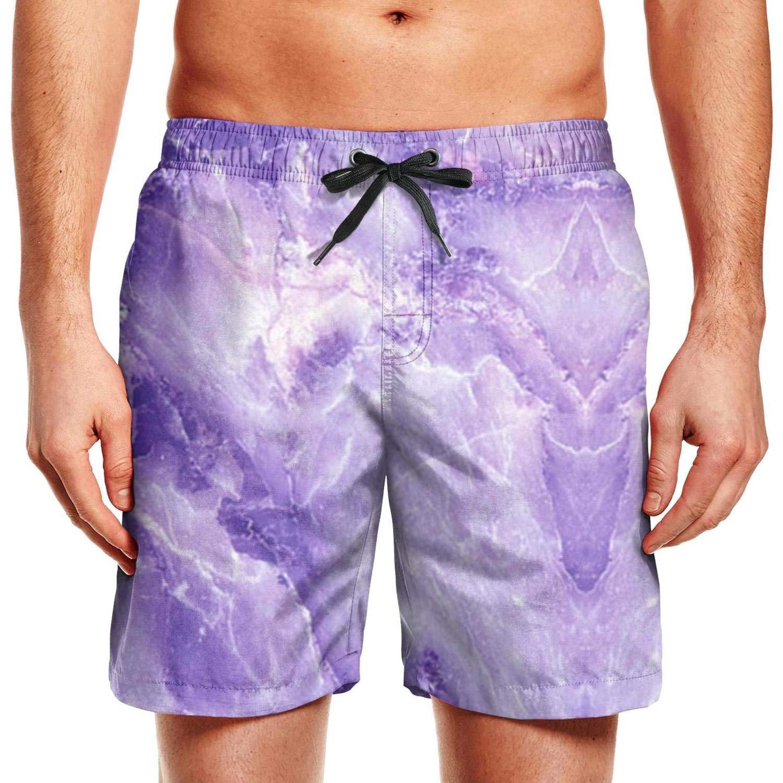 SADAFDS Peach Marble Swirl Mens Swim Mesh Lining Medium Length Beach Shorts