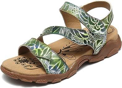 gracosy dampromenadsandaler sommar läder platt öppen tå komfort strandsandaler utomhus sport atletisk vandring vandring sandaler kudde mjuk sula halkfria skor krok ögla ankelrem bred passform sandal