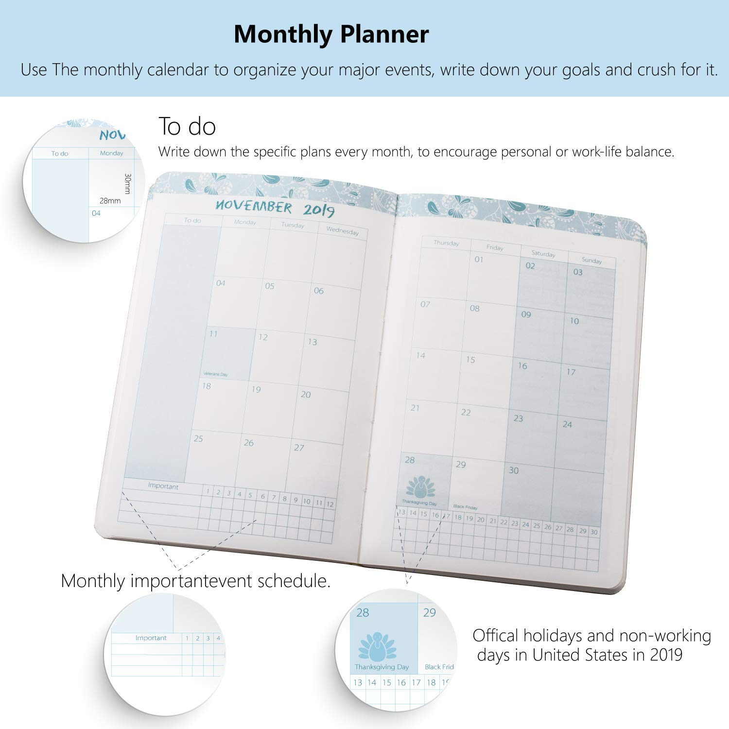 2019 Life Daily Planner Calendar and Ball Pen, Gift Set. Agenda Planner, Academic Weekly & Monthly Planner, A5 Financial Budget Planner to Organizer ...