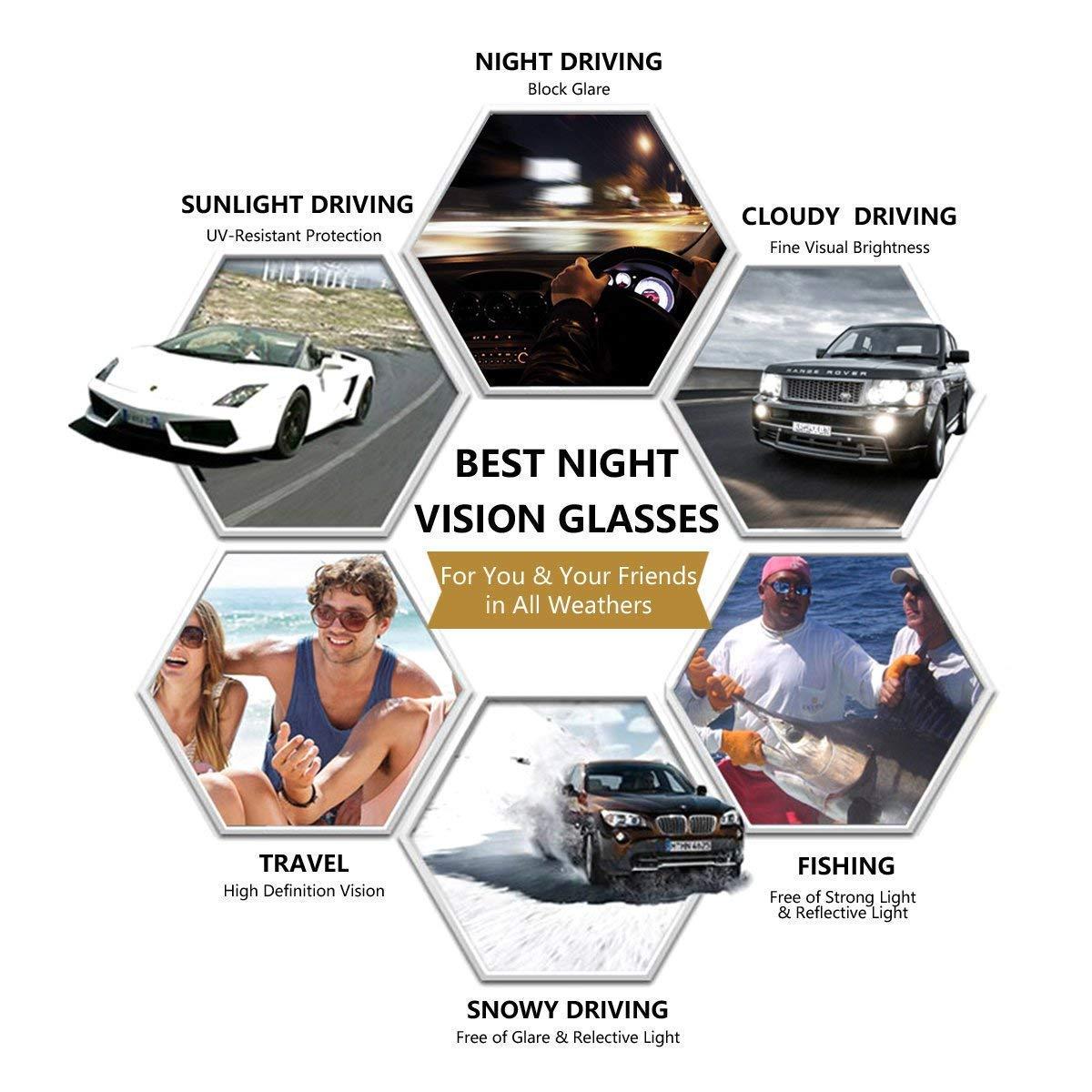 para hombres y mujeres Palazen Gafas de sol visi/ón nocturna HD con lentes polarizadas para conducci/ón nocturna color amarillo antideslumbrantes