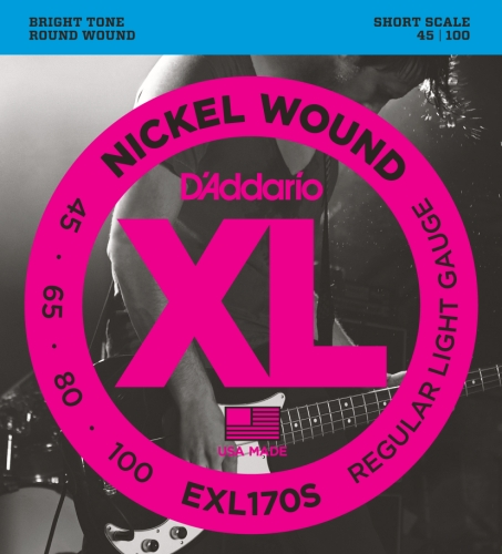 D'Addario EXL170S Nickel Wound Bass Guitar Strings, Light, - Short Scale Guitar Strings