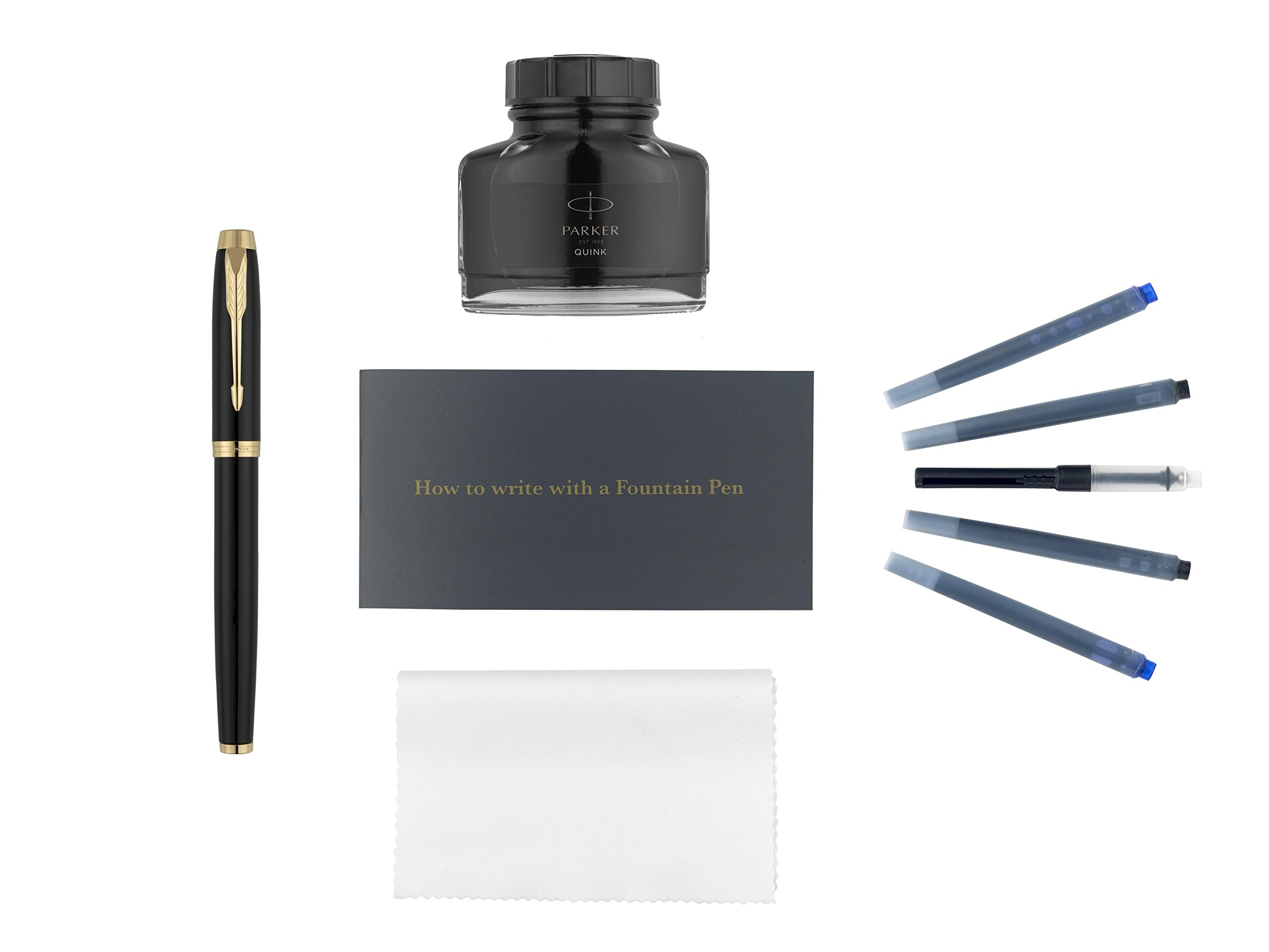 Parker IM Fountain Pen Kit, Black Lacquer with Gold Trim,...
