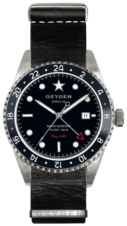 Oxygen Buffalo 42 Herren Quarzuhr mit schwarzem Zifferblatt Analog-Anzeige und schwarzem Lederarmband EX-DT-BUF -