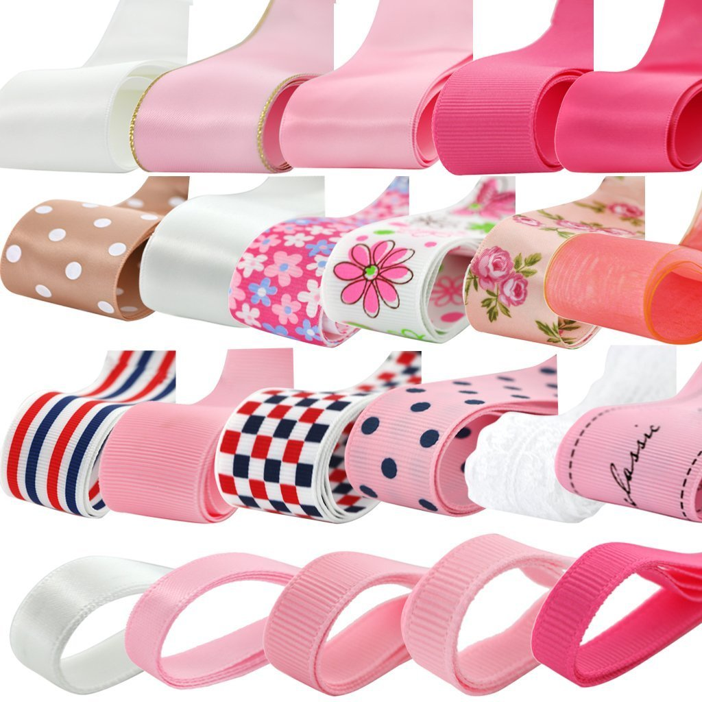 6mm-38mm//0.23in-1.5in YaptheS 22Pcs Multi-Color Assorted Sizes Grosgrain Ribbon DIY Crafts Mixed Pattern Lots Bulk Satins Clothing