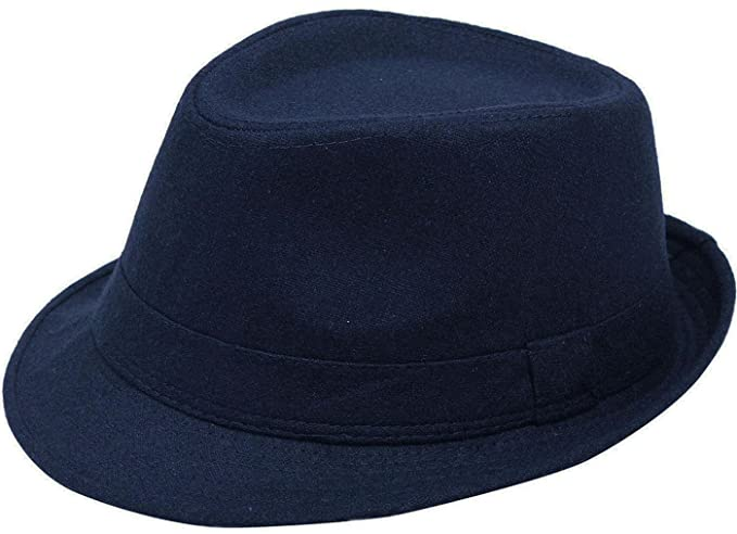 0cf01f63b7d2f2 YoungLove Men's Classic Manhattan Structured Gangster Trilby Fedora Hat,  Navy