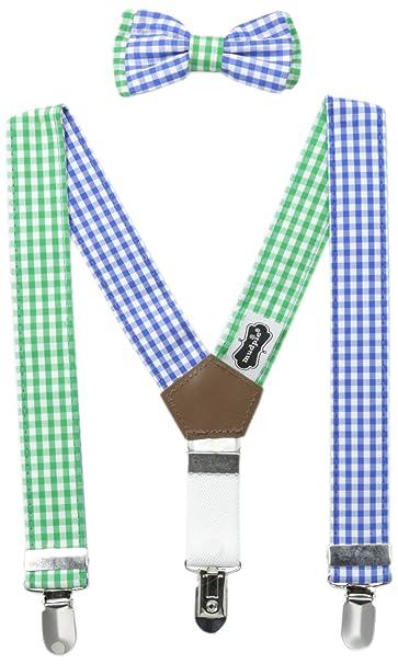 53727c3ba140 Mud Pie Boys' Baby Newborn Gingham Suspender and Tie Set, Blue, One Size