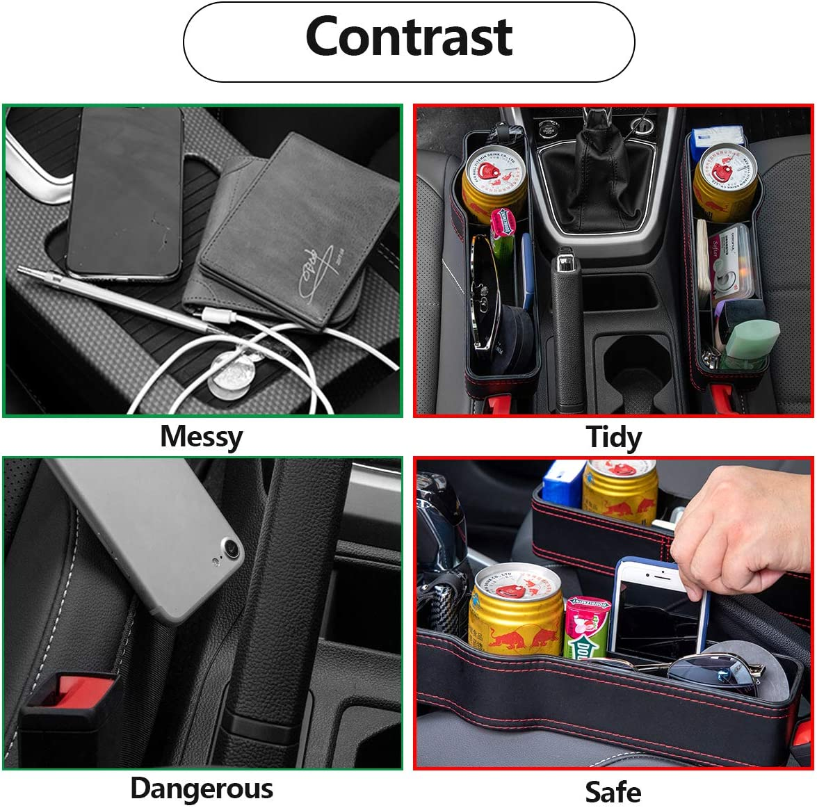GoHoKi Car Seat Gap Filler with USB Slot 2 Pack Universal Storage Box for All Car Seats Premium Leather Car Seat Organizer for Holding Cellphones Coins Cards Keys