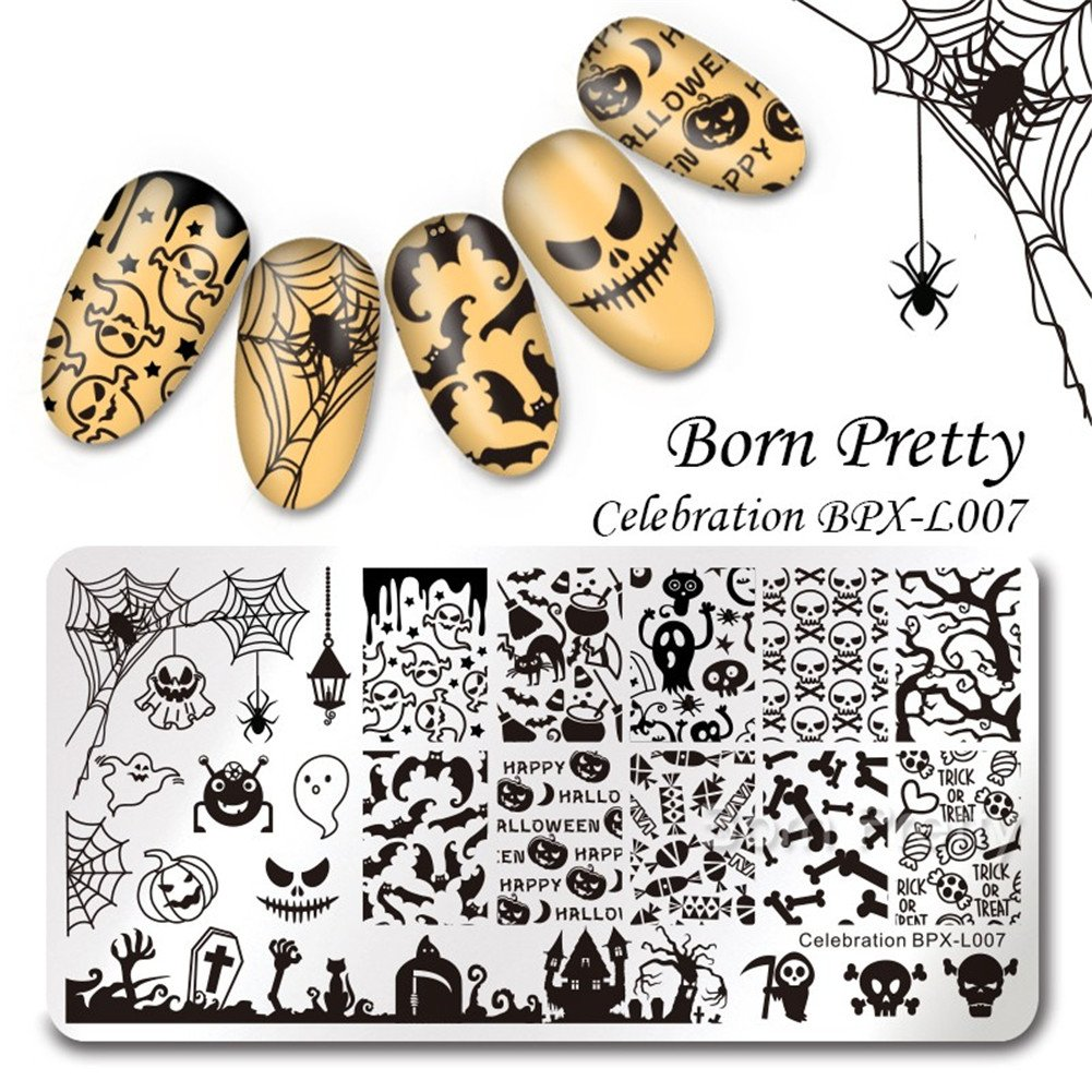 Born Pretty 4Pcs Nail Art Stamping Plates Halloween Pumpkin Ghost Skull Bat Templates Image Plates for Manicure DIY Print