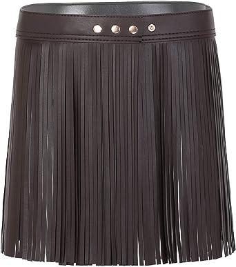 inlzdz Mujer Cinturón de Flecos de Borlas Falda de Cuero PU Falda ...