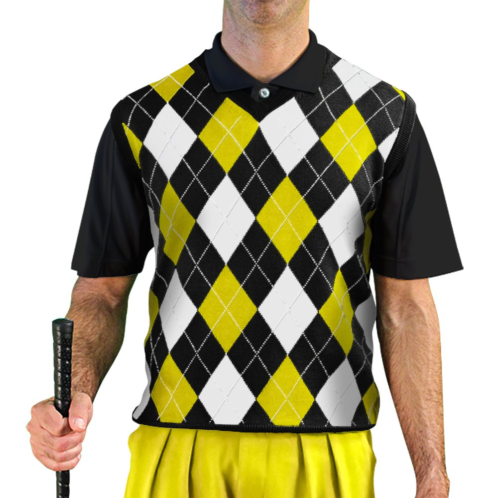 V-Neck Argyle Golf Sweater Vests - GolfKnickers: Mens - Pullover - Black/Yellow/White - XX-Large