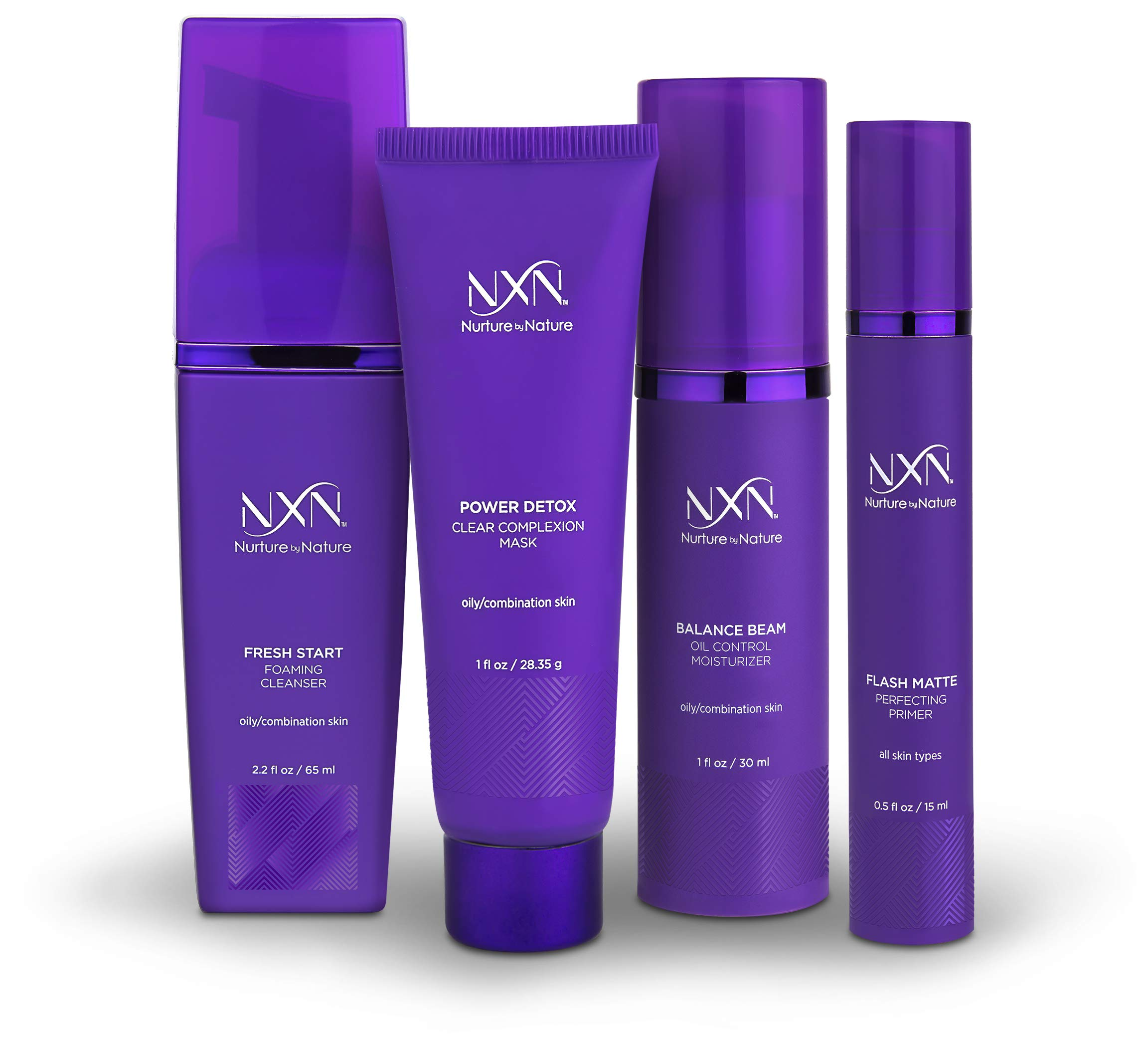 NxN Oil Control Daily 4-Piece Skin Care System, With Clinically Proven Vitamin C, Natural Retinol by Nurture by Nature