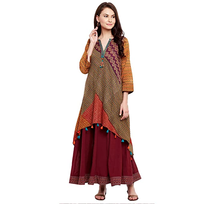 Ritu Kumar Rust Flared Kurti Kurtas at amazon