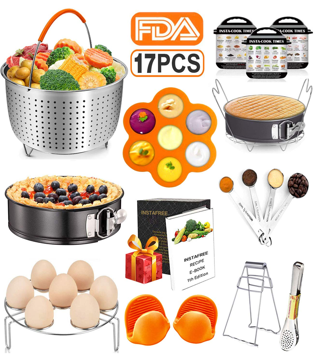 17 Pcs Instant Pot Accessories Set Compatible with 6 8 Qt, Pressure Cooker Accessories with Steamer Basket, Cake Pan, Rack, Egg Bites Mold, Spoon, Magnets, Bowl Clip, Tongs, Gloves, Ebook