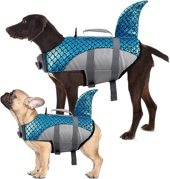 Kuoser Dog Life Jacket Vest, Adjustable Dogs Swimming Vest with Shark Fin   Amazon